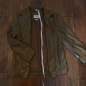 faux brown leather jacket/coat